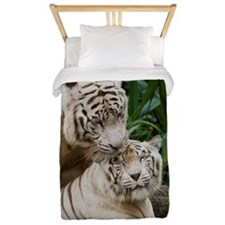 Kiss love peace and joy white tigers lo Twin Duvet