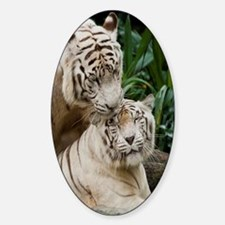Kiss love peace and joy white tiger Sticker (Oval)