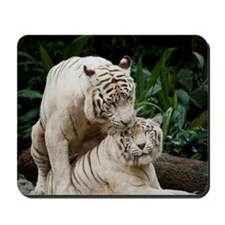 Kiss love peace and joy white tigers lov Mousepad