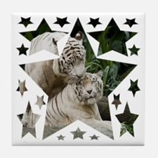 Kiss love peace and joy white tigers  Tile Coaster