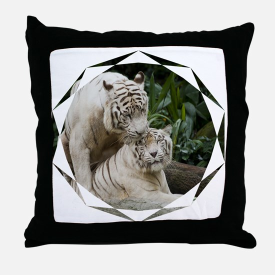 Kiss love peace and joy white tigers  Throw Pillow