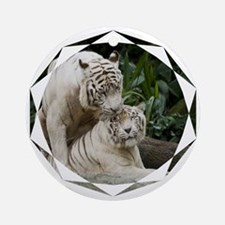Kiss love peace and joy white tiger Round Ornament