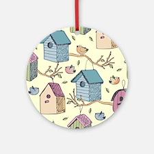 Cute Birdhouses Round Ornament