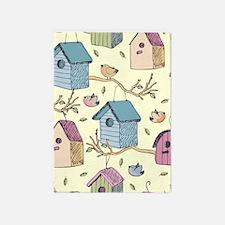 Cute Birdhouses 5'x7'Area Rug