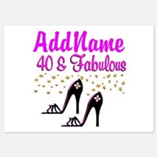 GLAMOROUS 40TH 5x7 Flat Cards