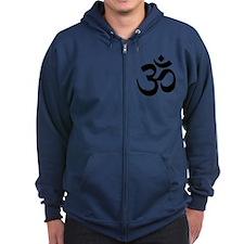Black Om Symbol Zip Hoodie
