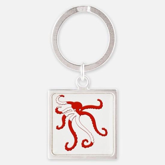 Octopus Scuba Diver Silhouette Square Keychain