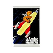 Vintage Hungarian Bear & Rocket T Rectangle Magnet