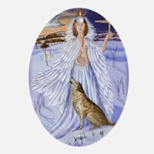 goddess bridget of imbolc Oval Ornament