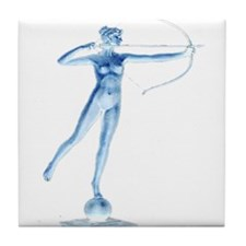 artemis bow hunting Tile Coaster