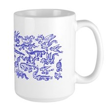 Lots O Dragons Blue on White Mug