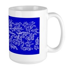 Lots O' Dragons White on Blue Mug