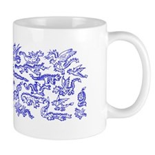 Lots O' Dragons Blue on White Mug