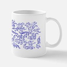 Lots O' Dragons Blue on White Mug