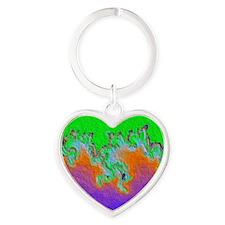 Painted Julia Set Fractal Heart Keychain
