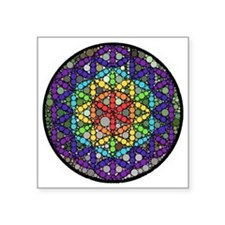 "Flower of Life Circle Square Sticker 3"" x 3"""