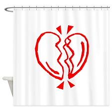 Red Broken Heart Shower Curtain