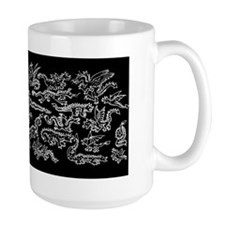 Lots O Dragons White on Black Mug