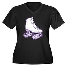 old skool skate purple Women's Plus Size V-Neck Da