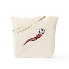 Soccer Ball Flames Art Tote Bag