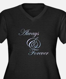 Always & Forever Women's Plus Size V-Neck Dark T-S