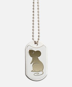 Cute Gold Mouse Art Dog Tags