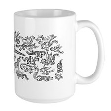 Lots O' Dragons Black on White Mug