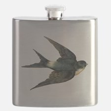 Vintage Swallow Bird Art Flask