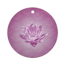 Pink Water Lily Round Ornament