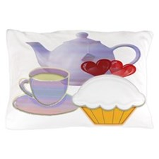 Tea time cupcake art Pillow Case