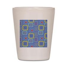 Retro Blue Squares Shot Glass