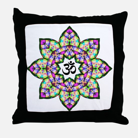 Lotus Om Black Throw Pillow
