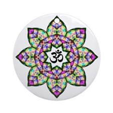 Lotus Om Black Round Ornament
