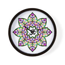 Lotus Om Black Wall Clock