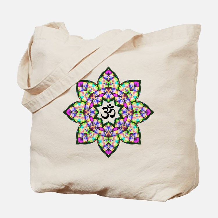 Lotus Om Black Tote Bag
