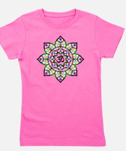 Lotus Om Black Girl's Tee