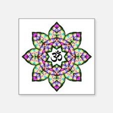 "Lotus Om Black Square Sticker 3"" x 3"""