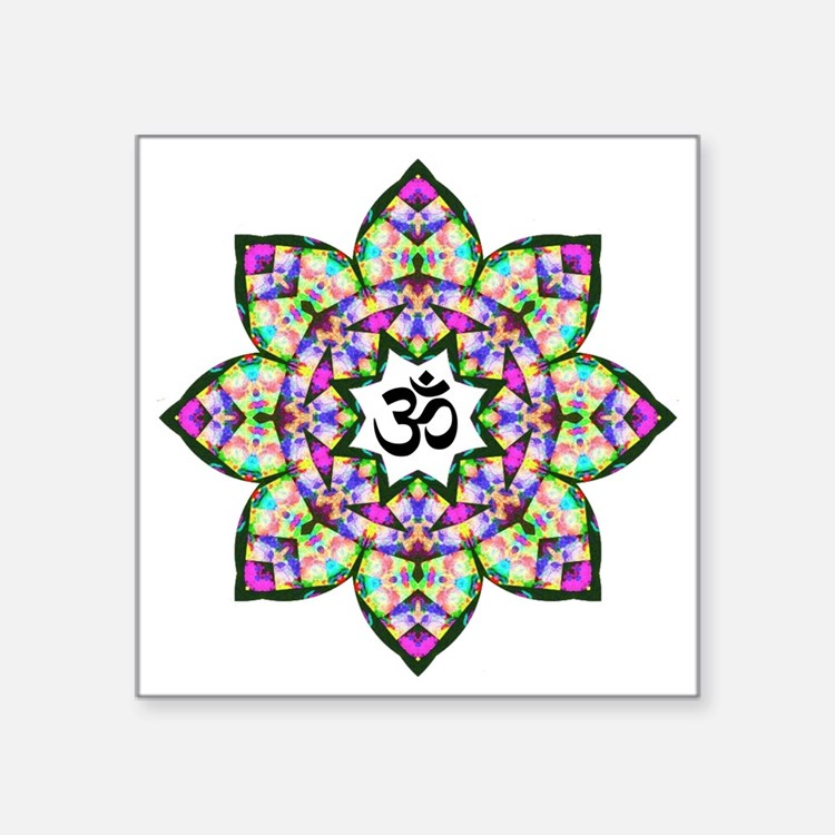 "Lotus Om Black Square Sticker 3"" x 3"""
