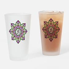 Lotus Om Black Drinking Glass
