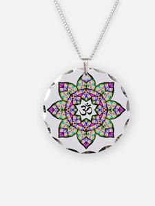Lotus Om Black Necklace