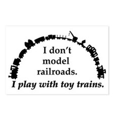 play with trains black Postcards (Package of 8)