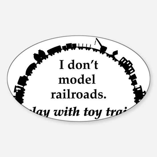 play with trains black Sticker (Oval)