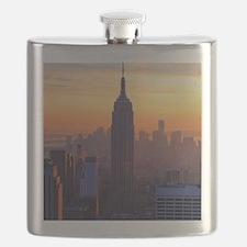 Empire State Building, NYC Skyline, Orange S Flask