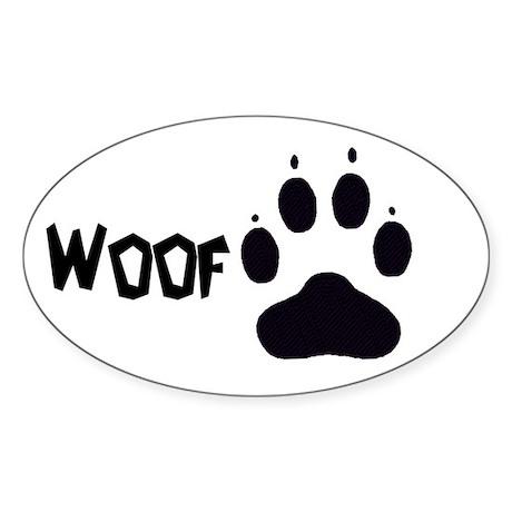 """""""Woof"""" Oval Sticker"""