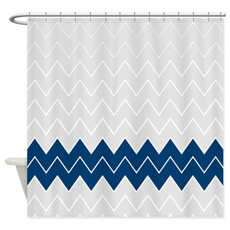 Gray And Navy Zigzags 2 Shower Curtain By Showercurtainsworld