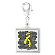 Suicide Prevention Fight Defy Silver Square Charm