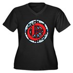 Stained Glass O Women's Plus Size V-Neck Dark T-Sh