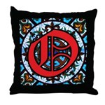 Stained Glass O Throw Pillow