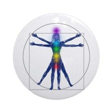 Vitruvian Spirit Woman Round Ornament