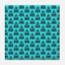 Damask Pattern Turquoise and Black Tile Coaster